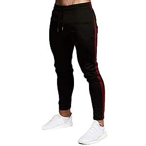 Pantalones Deportivos Hombre SUNNSEAN Sólido Apretados Pantalones Cuerda Impresos Moda Cómodos para Running Ejercicios Deportes Leggings Largos Pants (01Azul, 3XL)