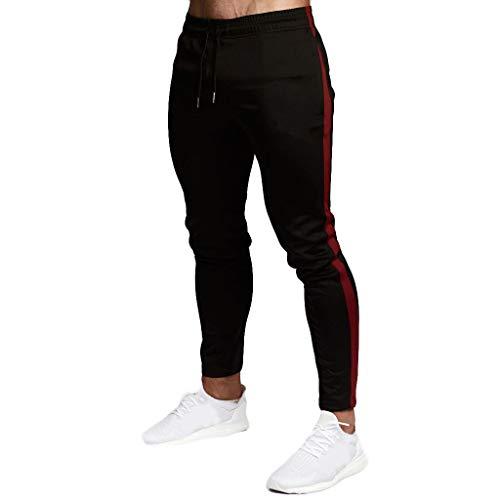 Herren Skinny Trainingshose mit Seitenstreifen Sportanzug Männer Mode Freizeithosen Bequeme Sweatpants ()