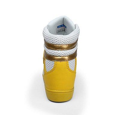 WSX&PLM Da donna-Stivaletti-Casual-Comoda-Piatto-Di pelle-Giallo Bianco yellow