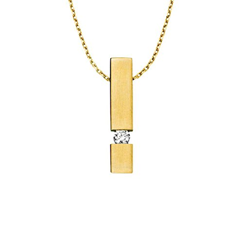 Diamond Line Damen - Halskette 375er Gold 1 Diamant ca. 0,08 ct, gelbgold