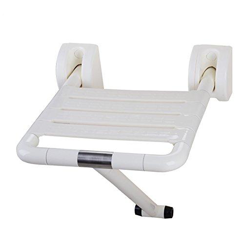 ZJM Sicherheit Falten Älterer Dusche Sitz Dusche Sitz mit Beinen Falten Wand für Dusche Bank Stühle ( Farbe : Weiß , größe : With leg )