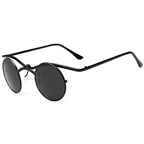 Runde Sonnenbrille Gothic Steampunk Sonnenbrille Männer Retro Sonnenbrille Frauen Spiegel Objektiv Mode Flip Kleine BRILLE Cross Rahmen
