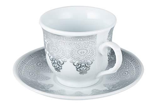 Dekonaz | Türkische Kaffeetassen-Set | Mokkatassen | 12 Teilig | für 6 Personen | Porzellan | Weiß | Silber |