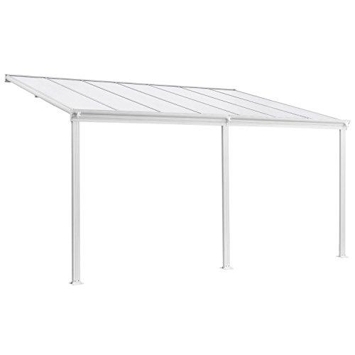 Juskys Aluminium Terrassendach Borneo 4×3 m weiß-transparent | Terrassenüberdachung mit Doppelsteg-Platten | Sonnenschutz Vordach