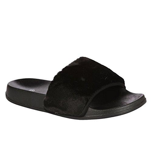 Donna Scivolare Sul Piatto Farrah Gomma Scivolosi Sabot Pelo Pantofola Sandali Scarpe Nero
