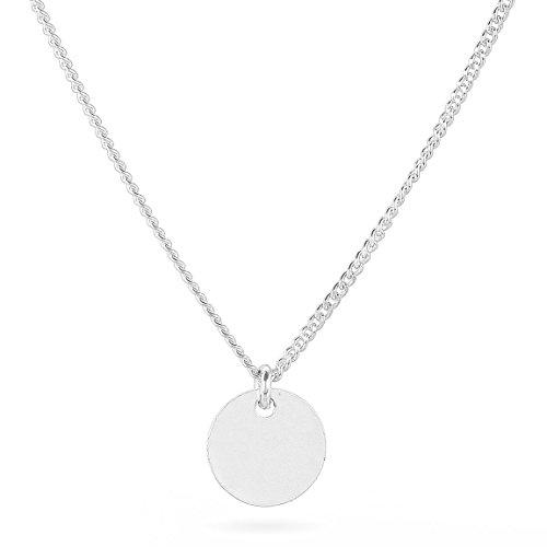 TomShot Berlin Halskette für Damen Silber mit Kleinem Runden Silberplättchen Anhänger Messing versilbert - 79ke3311s