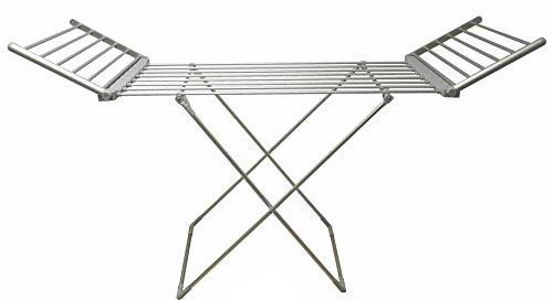 Sirge - Scaldotto - Tendedero eléctrico tamaño maxi para colgar y secar la ropa, alas desplegables, 90cm de altura, 260W, 15metros de tendido, plegable, 20barras con calefacción
