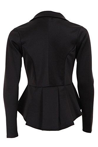 Branded - Veste Blazer Volant Péplum Coupe Cintrée Bureau Femmes Noir