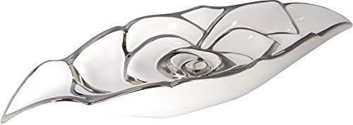 Dreamlight Wunderschöne Dekoschale Obstschale Schale Rose aus Keramik weiß/Silber Länge 29 cm