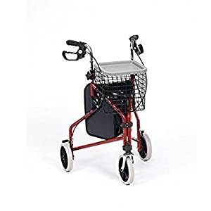 Drive Medical Red Steel Tri Walker with Bag Basket and Tray by Drive Medical
