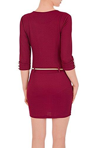 Laeticia Dreams Damen Minikleid mit Reißverschluss Zipper Gürtel S M L XL Weinrot