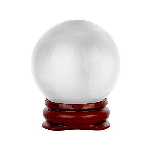 TianranRT HEISS! 40mm Natürliche Quarz Magie Kristall Kugel Heilung Kugel Kugel Und Stand (klar) (Ornamente Kleine Klare Glaskugel)