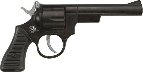J.G.Schrödel Junior: Spielzeugpistole für Zündplättchen, in Geschenkebox, ideal für das Cowboy- oder Polizeikostüm, 100 Schuss, 21 cm, schwarz (401 0915)