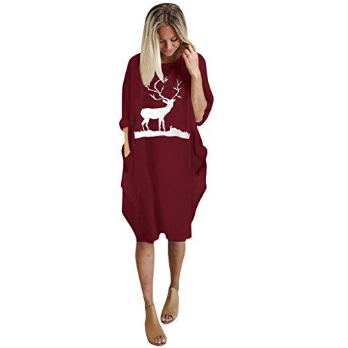 Donne Dritto Abito per Natale - Donna Oversize Abito Donna Casual a Maniera Lunga Stampa Sciolto T-Shirt Abito(Rosso 4,S)