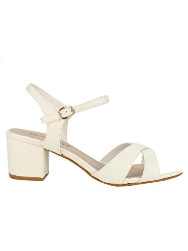 Cendriyon, Sandale Blanche VIVI RICH Mode Chaussures Femme Blanc