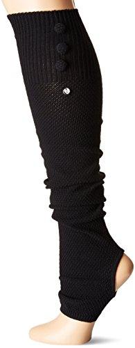 Toesox–Calcetines de la mujer RAE por encima de la rodilla abierta talón LEG Warmer, Negro