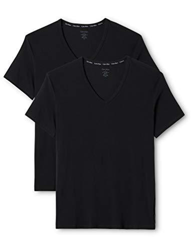 Baumwolle Mit V-ausschnitt-boxer (Calvin Klein Herren T-Shirt 2P S/S V NECK, Gr. Large, Schwarz (BLACK 001))