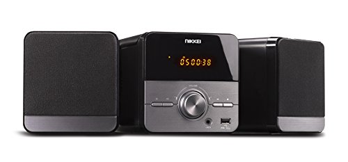 NIKKEI NMC306 - Micro HiFi mit FM Radio 5 Watt | CD Spieler mit mp3 | CD Player mp3 | CD, Aux, USB und Fernbedienung | Grau/Schwarz