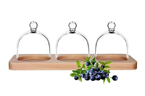 Sendez 3 Glasglocken auf Holzteller Dekoteller Glashaube Glaskuppel Glocke Glasdom Haube Holz