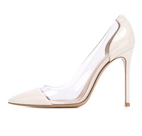 Tep Edefs Mettere Bianco Donna Pvc Chiuse Stiletto Formato escarpins Trasparente pqI0rxAzIw