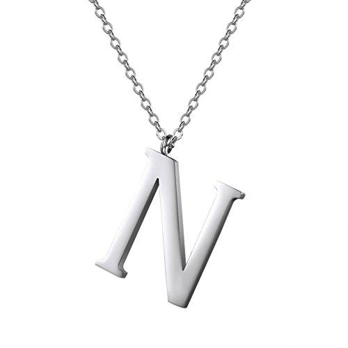 PROSTEEL Halskette Edelstahl Buchstabe N Alphabet Charme Anhänger Halskette Fashion Anfangsbuchstabe Modeschmuck mit 55cm Rolokette Silber