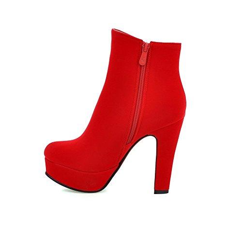Odomolor Damen Reißverschluss Niedrig-Spitze Mattglasbirne Rund Schließen Zehe Stiefel Rot