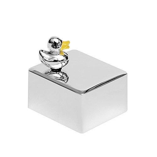 Spieluhr Für Baby Design Ente Versilbert Gravur Mädchen Junge Tier Schlaflied Einschlafen Drehuhr Brillibrum Geschenke Für Kinder Geschenkidee (Spieluhr mit Gravur bis 15 Zeichen)