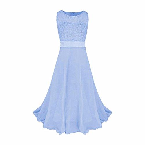 ❤️Elecenty Mädchen Prinzessin Kleid,Baby Lange Hochzeitskleid Spitzenkleid  Partykleid Kinder Cocktailkleid Kleider Babykleidung Festzug Ärmellos ... 130f1fe09d