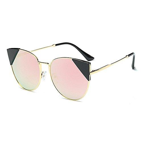 XHCP Frauen Polarisierte Klassische Pilotenbrille, Nette Katzenaugen Unregelmäßige Sonnenbrille Für Frauen Metallrahmen Umrandeten UV-Schutz Klassische Übergroße Trendy Lady 's (Farbe: Rosa)