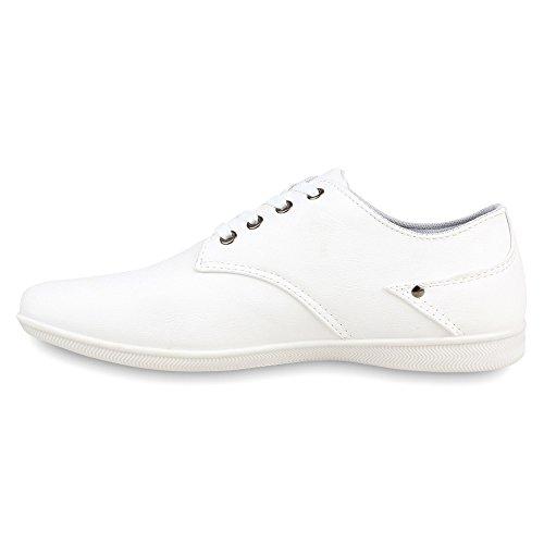 Herren Sneakers Lederoptik Schnürer Sportschuhe Weiß