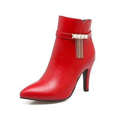 Heart&M Da donna Scarpe PU (Poliuretano) Autunno Inverno Comoda Stivaletti A stiletto Appuntite Catenina Cerniera Per Nero Beige Marrone Rosso red