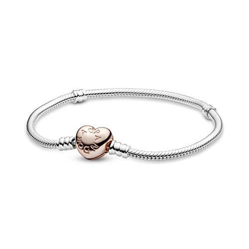 Pandora Damen Moments Schlangen-Gliederarmband mit Herz-Verschluss Sterling Silber Metalllegierung 580719-19