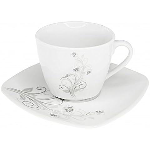 Set di 2 tazze e piattini da tazzine da caffè, colore: cioccolato, marrone, motivo floreale, 180 ml sabbie& riflesso