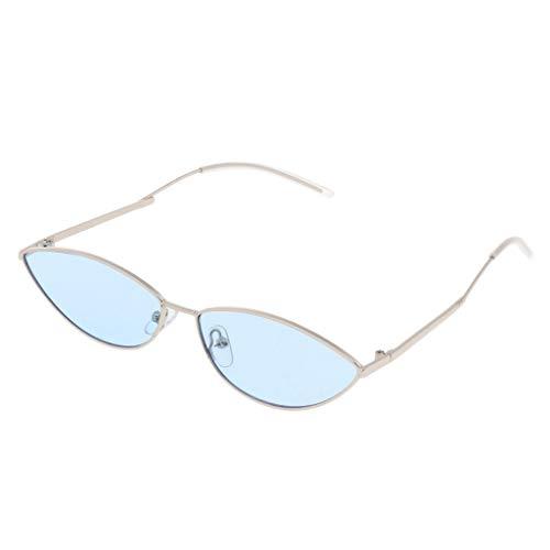 B Baosity Frauen Männer Vintage Dreieck Gespiegelte Sonnenbrille Brillen Designer - Golden-Blau