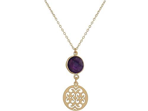 Lila Billig Modeschmuck (GEMSHINE Halskette mit Mandala und Amethyst. Anhänger aus 925 Silber, vergoldet, rose vergoldet an 45 cm Kette. Made in Madrid / Spanien. Im eleganten Geschenketui geliefert. Auch als Set mit)