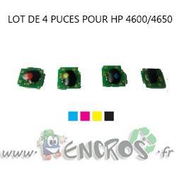 PUCE-HP Lot de 4 Puces NOIR+ COULEUR Toner LaserJet 4600/4650