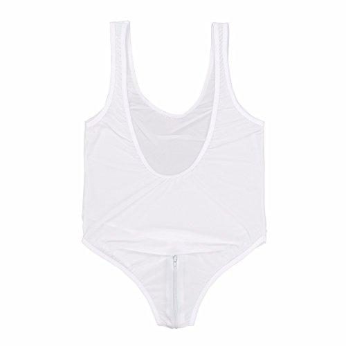 FEESHOW Damen Transparent Body Brustfrei/Rückenfrei Zip Schritt Thong Leotard Bodysuit Nachtwäsche Reizwäsche Weiß(Brustfrei)