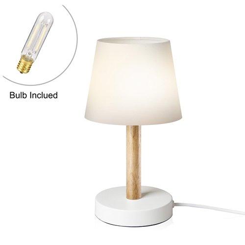 Viugreum lampada bianca in legno da salotto comodino, abat jour classica, lampada abatjour semplice led bassi consumi alta efficenza presa e14 cavo 1,60 metri