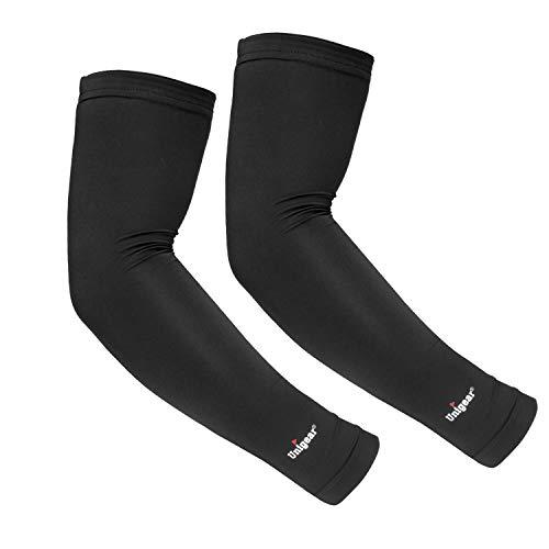 Unigear Arm Sleeves, Armlinge mit Kühleffekt und UV-Schutz, für Herren Damen, rutschfest, für Laufen Radsport Fußball Basketball Golf Wandern (Schwarz XL)