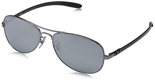 Ray-Ban Unisex Sonnenbrille RB8301, Mehrfarbig (Gestell: Shiny, Gunmetal Glas: polarisiert Silber verspiegelt 004/K6), Large (Herstellergröße: 56)