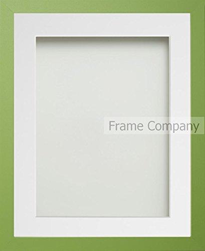 7' X 9 Grün (Frame Company Bilderrahmen mit weißem Passepartout, verschiedene Größen zur Auswahl, Grün 12x10 for pic size 9x7')