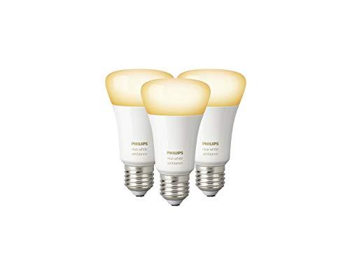 Philips Lighting Hue White Ambiance Lampadine LED, Attacco E27, 9.5 W, 3 Pezzi