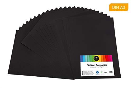 perfect ideaz 50 Blatt schwarzes DIN-A3 Ton-Papier, Ton-Zeichen-Papier schwarz, schwarze Blätter in 130g/m², Bastel-Bogen black, Zubehör-Set zum Basteln, Material durchgefärbt, DIY-Bedarf