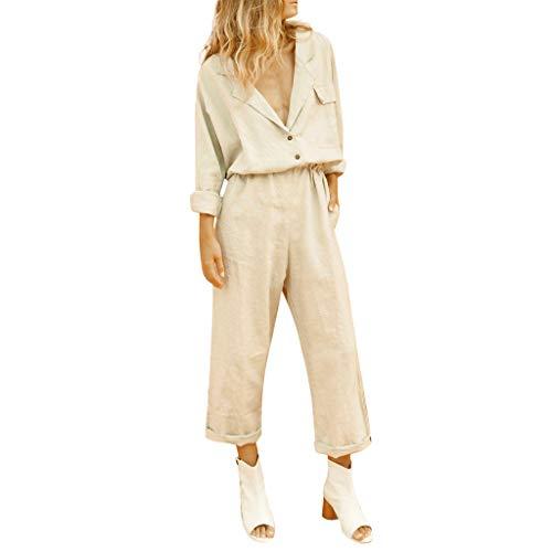 Clacce Boho Jumpsuit Playsuits Damen, Frauen Overall Sommerkleid V-Ausschnitt Schlank Sommer Baumwolle Temperament Anzug Shorts Anzug
