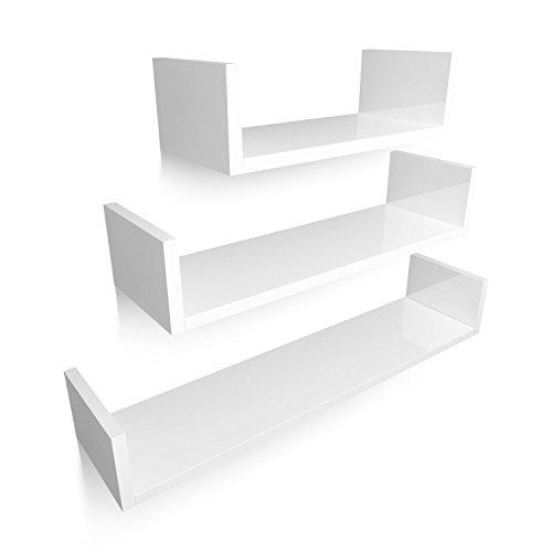 Foto de HOMFA Estantería de Pared Estanterías Cubos Juego de 3 Estantes para libros CDs Blanco