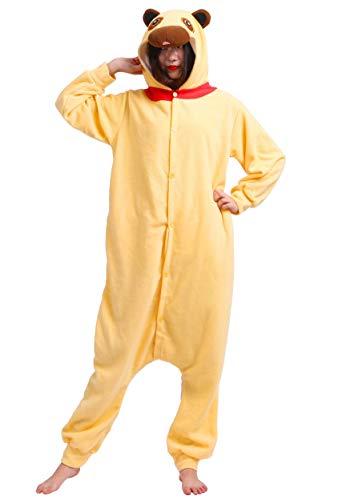 Jumpsuit Onesie Tier Karton Kigurumi Fasching Halloween Kostüm Lounge Sleepsuit Cosplay Overall Pyjama Schlafanzug Erwachsene Unisex Gelb Mops for Höhe 140-187CM