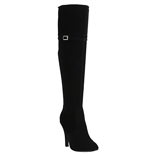 Damen Overknees Plateau Stiefel Langschaft Stilettos Lederoptik Schuhe 149536 Schwarz Schnallen Brito 37 | Flandell® (Sexy Overknee Stiefel)