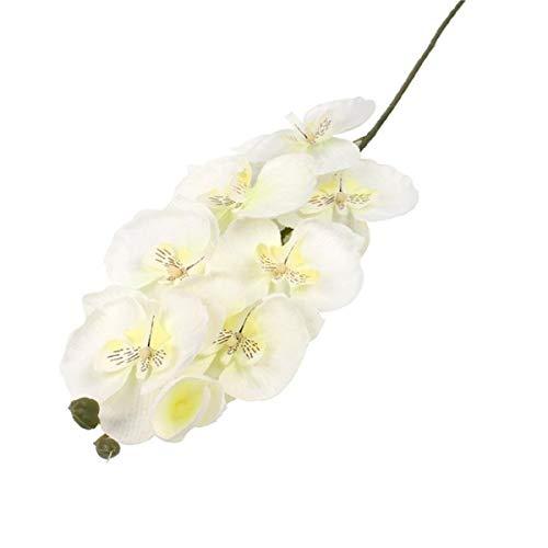 Yalulu 2 Stück Orchidee Künstliche Simulation Schmetterling Orchideen Blüte Blumen Hochzeit Haus Partei Home Deko (Weiß)