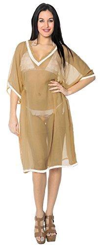 LA LEELA Bikini Überzug Kleid Schwimmen Strand Kleidung Caftan Badeanzug Frauen Bedruckt - Braun - 38 DE/44 DE Einheitsgröße [M/L]