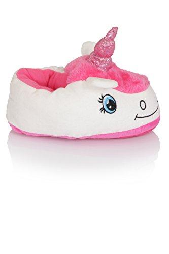 Filles Nifty Kids 3D nouveauté Licorne Pantoufles Blanc Licorne